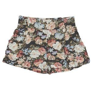 Talula High Waist Floral Print Smocked Shorts L